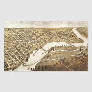 Aerial View of Appleton, Wisconsin (1867) Rectangular Sticker