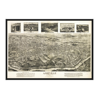 Aerial View of Asheville, North Carolina (1912) Canvas Print