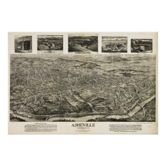 Aerial View of Asheville, North Carolina (1912) Poster