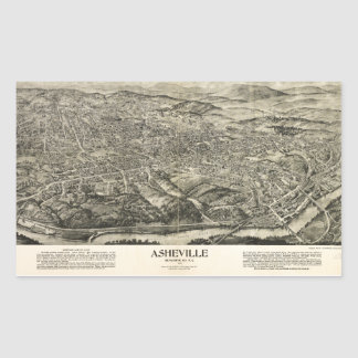 Aerial View of Asheville, North Carolina (1912) Rectangular Sticker