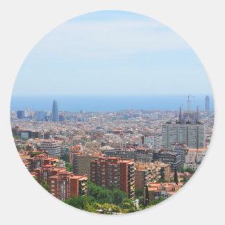 Aerial view of Barcelona, Spain Round Sticker