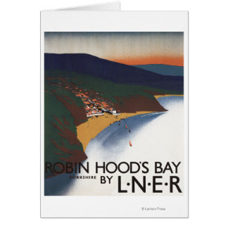 Aerial View of Bay and Cliffs Railway Poster Card