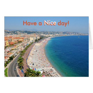 Aerial view of beach in Nice, France Card