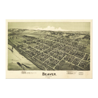 Aerial View of Beaver Pennsylvania (1900) Canvas Print