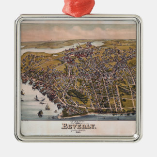 Aerial View of Beverly, Massachusetts (1886) Metal Ornament