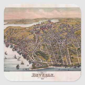 Aerial View of Beverly, Massachusetts (1886) Square Sticker