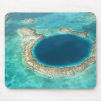 Aerial view of Blue Hole, sailboat anchored Mouse Pad