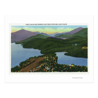 Aerial View of Both Lake Placid & Mirror Lake Postcard