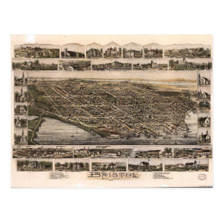 Aerial View of Bristol, Rhode Island (1891) Postcard