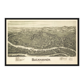Aerial View of Buckhannon, West Virginia (1900) Canvas Print