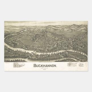 Aerial View of Buckhannon, West Virginia (1900) Rectangular Sticker