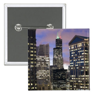 Aerial view of buildings in the Chicago Loop, 15 Cm Square Badge