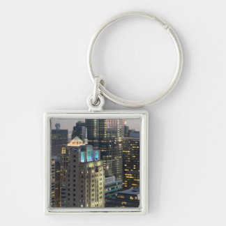 Aerial view of buildings in the Chicago Loop Silver-Colored Square Key Ring