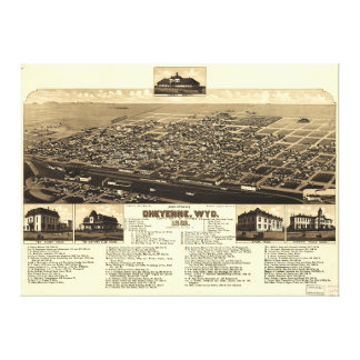 Aerial View of Cheyenne, Wyoming (1882) Stretched Canvas Print