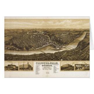 Aerial View of Chippewa Falls, Wisonsin (1907) Card
