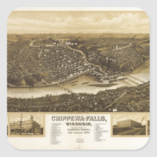 Aerial View of Chippewa Falls, Wisonsin (1907) Square Sticker