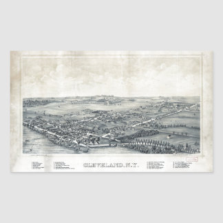 Aerial View of Cleveland, New York (1890) Rectangular Sticker