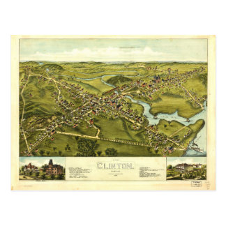 Aerial View of Clinton, Connecticut (1881) Postcard