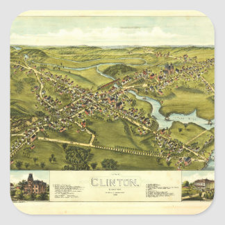 Aerial View of Clinton, Connecticut (1881) Square Sticker