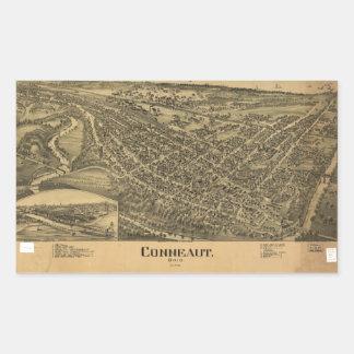 Aerial View of Conneaut, Ohio (1896) Rectangular Sticker