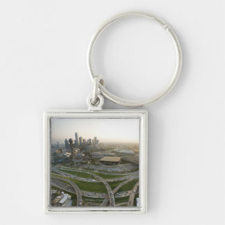 Aerial view of downtown Dallas, Texas Silver-Colored Square Key Ring