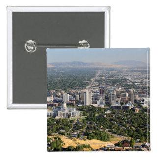Aerial view of downtown Salt Lake City, Utah 15 Cm Square Badge