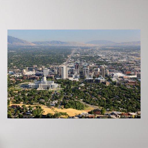 Aerial view of downtown Salt Lake City, Utah Poster