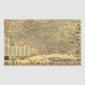 Aerial View of Elizabeth, New Jersey (1898) Rectangular Sticker