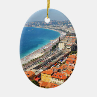 Aerial view of French Riviera in Nice, France Ceramic Ornament