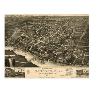 Aerial View of Gadsden, Alabama (1887) Postcard