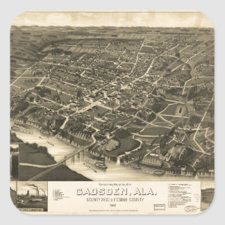 Aerial View of Gadsden, Alabama (1887) Square Sticker