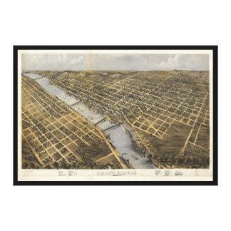 Aerial View of Grand Rapids, Michigan (1868) Canvas Print