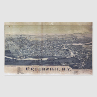 Aerial View of Greenwich, New York (1885) Rectangular Sticker