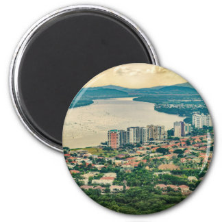 Aerial View of Guayaquil Outskirt from Plane 6 Cm Round Magnet