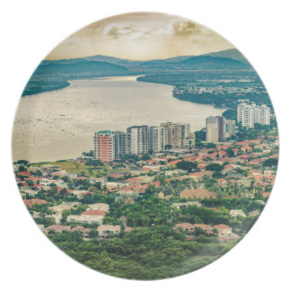 Aerial View of Guayaquil Outskirt from Plane Plate