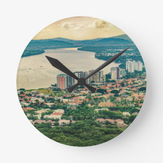 Aerial View of Guayaquil Outskirt from Plane Round Clock
