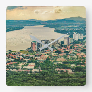 Aerial View of Guayaquil Outskirt from Plane Square Wall Clock