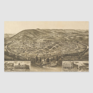 Aerial View of Harriman, Tennessee (1892) Rectangular Sticker