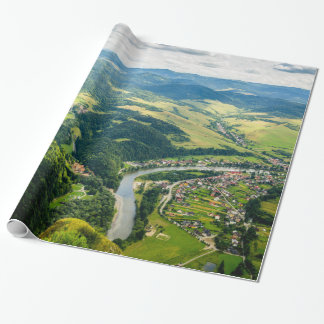Aerial View Of Hills Landscape With River