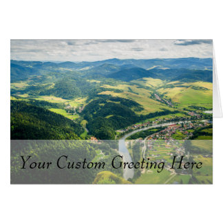 Aerial View Of Hills Landscape With River Card