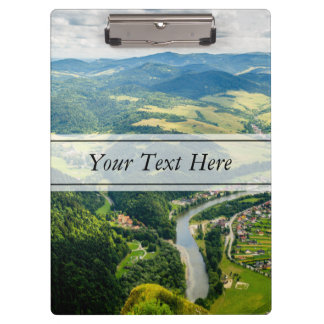 Aerial View Of Hills Landscape With River Clipboard