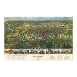 Aerial View of Houston, Texas (1891) Canvas Print