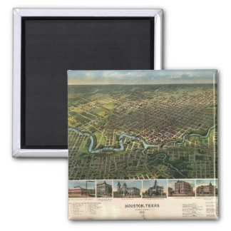 Aerial View of Houston, Texas (1891) Square Magnet