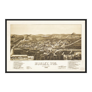 Aerial View of Hurley, Wisconsin (1886) Canvas Print