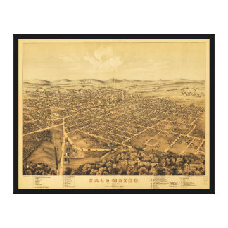 Aerial View of Kalamazoo, Michigan (1874) Canvas Print