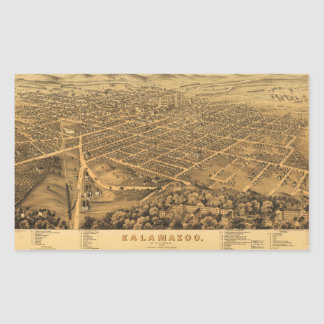 Aerial View of Kalamazoo, Michigan (1874) Rectangular Sticker