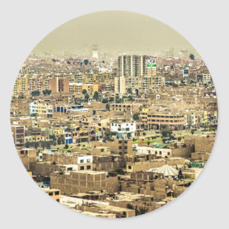 Aerial View of Lima Outskirts, Peru Classic Round Sticker
