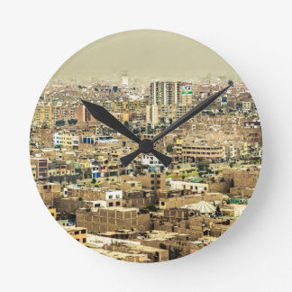 Aerial View of Lima Outskirts, Peru Round Clock