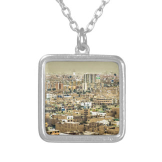 Aerial View of Lima Outskirts, Peru Silver Plated Necklace