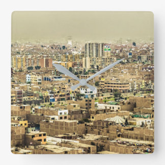 Aerial View of Lima Outskirts, Peru Square Wall Clock